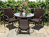 3 Pc Patio Resin Outdoor Wicker Dining Set Round Table w/Glass 2 Arm Chairs Dark Brown Color