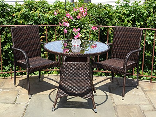 3-Pc-Patio-Resin-Outdoor-Wicker-Dining-Set-Round-Table-wGlass-2-Arm-Chairs-Dark-Brown-Color