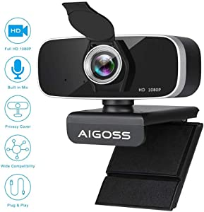 Aigoss Webcam with Microphone & Privacy Cover, 1080P Full HD Web Camera for Streaming, Video Calling, Conference, Recording, Gaming, Computer Camera Laptop USB Webcam