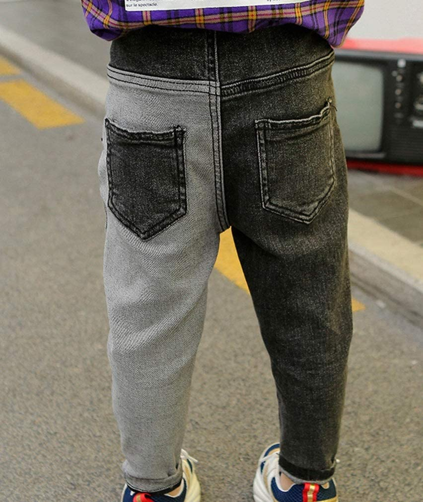 Color : Black Grey, Size : 90cm XINXINHAIHE Kids Boys Black Gray Patchwork Fit Jeans Loose Denim Pants Casual Wear 2-11Y