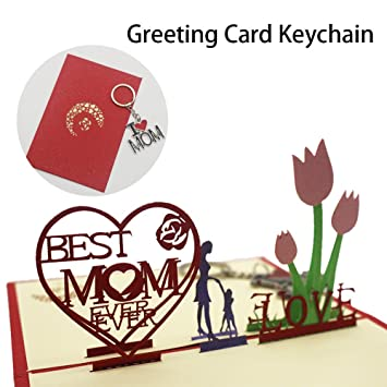 3D Pop Up Mothers Birthday Gift Cards And I Love Mom Key Chain Thanksgiving Christmas
