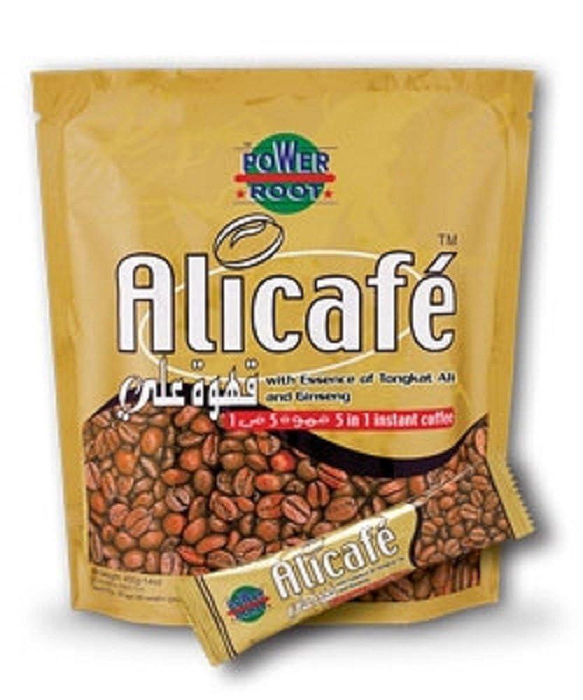 Pack of 20 Tongkat Ali Ginseng Coffee Sachets 5 in 1 Mens Health Tea Singles Alicafe