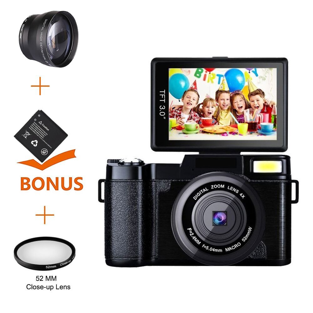 Digital Camera Camcorder Full HD 1080P Video Camera DIWUER 24.0MP 3.0 Inch LCD Mini Camcorders with Macro Lens and Flash Light (Dual Batteries) by DIWUER
