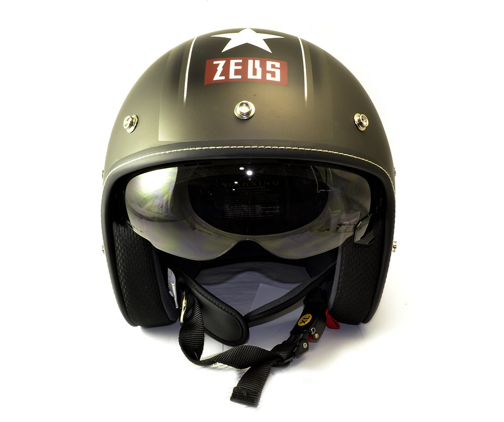 Amazon.es: ZEUS - Casco Custom Decorado Mate con pantalla solar y visera desmontable (L)