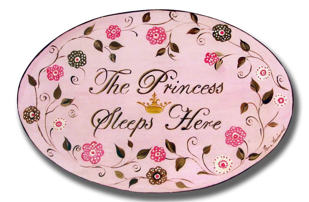 The Kids Room by Stupell The Princess Sleeps Here Brown and Pink Oval Wall Plaque, 10 x 0.5 x 15, Proudly Made in USA by The Kids Room by Stupell