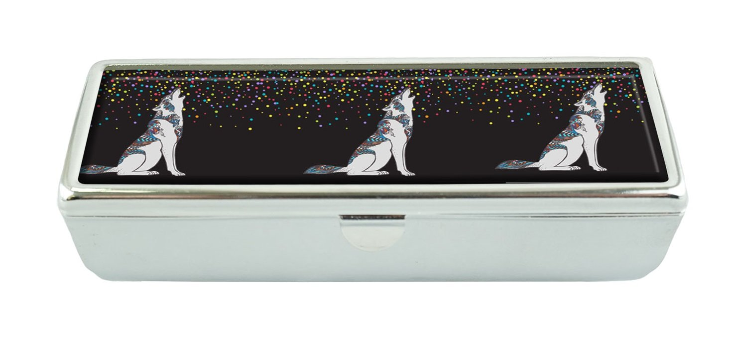 Hiuyi Wolf Custom Personalized Black Velvet Lined Lipstick Box With Built In Mirror Cosmetic Storage Box
