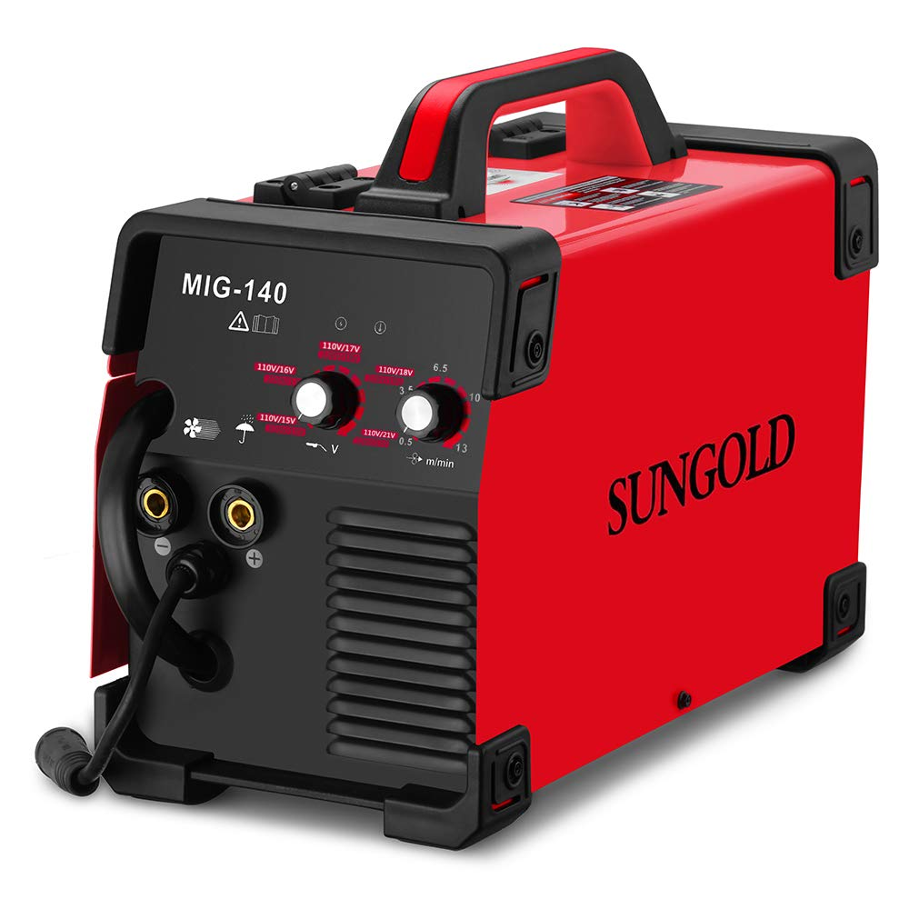 SUNGOLDPOWER MIG Welder 140A Gas and Gasless Welding 110/220V Dual Voltage IGBT DC Inverter Welding Machine Including Flux Cored Wire by SUNGOLDPOWER