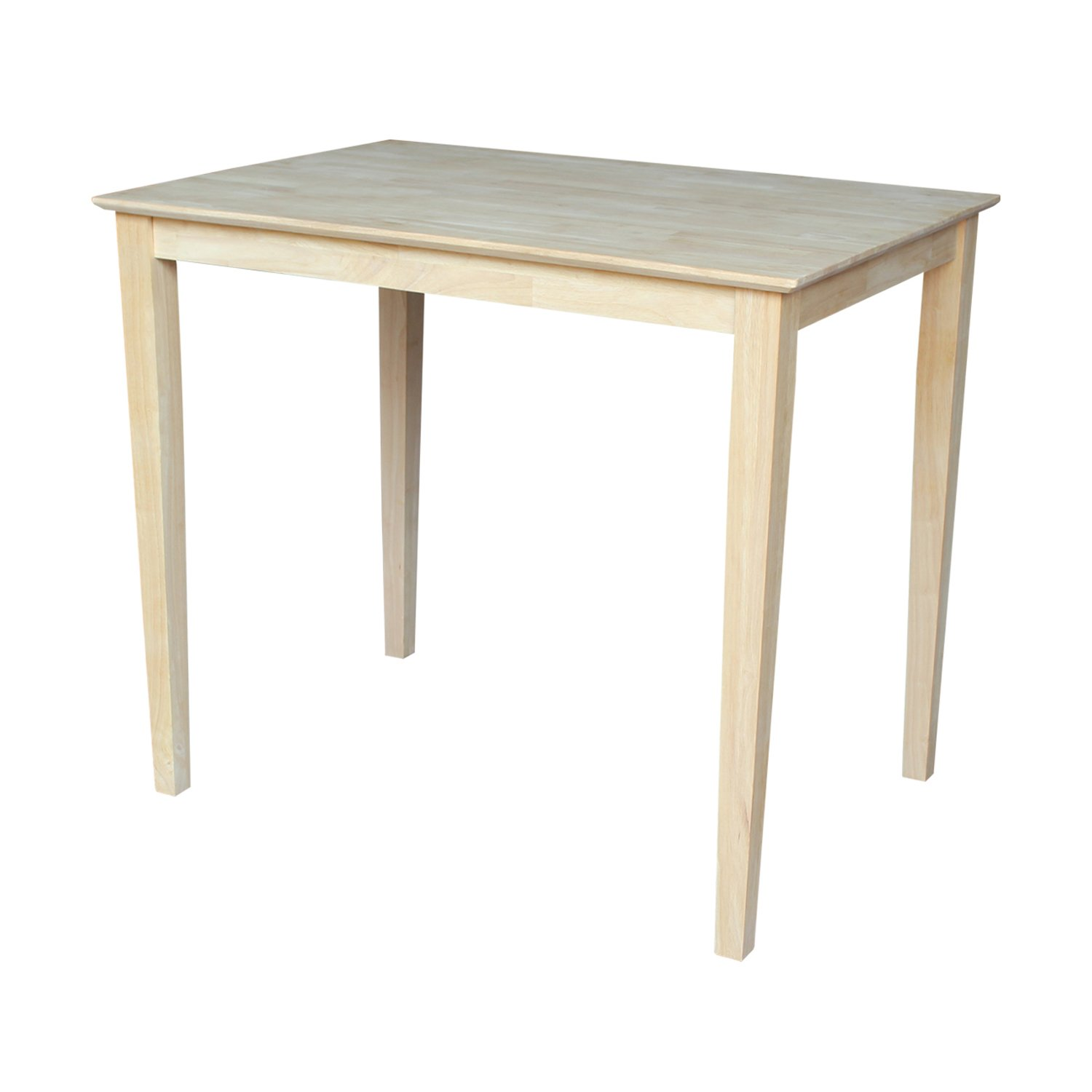International Concepts Solid Wood Top Table with Shaker Legs, Counter Height