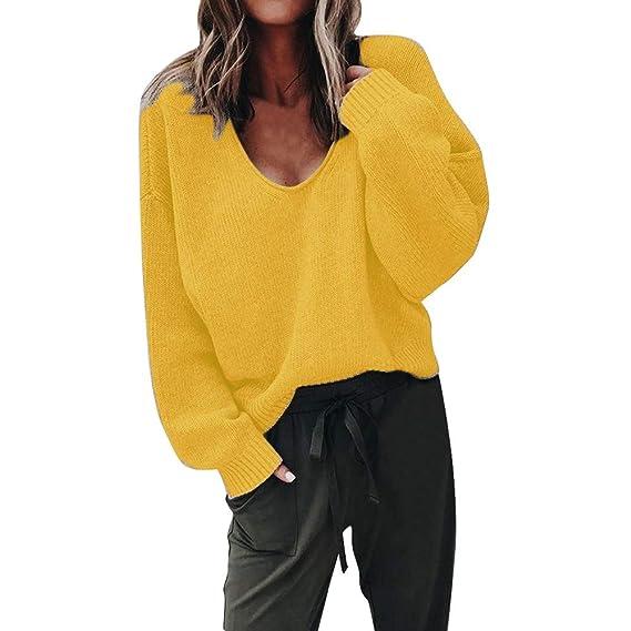 Luckycat Moda para Mujer Otoño Escote en V Profundo Manga Larga Color sólido Suéter Blusa Plus