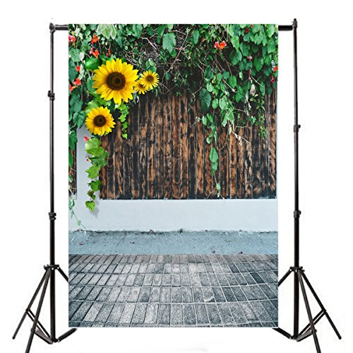 Leyiyi 8x10ft Spring Garden Photography Background Sunflowers Blossom Western Rustic Wooden Wall Gardening Fence Vane Leaves Flora Backdrop Floor Lay Flat Wedding Photo Portrait Vinyl Studio Prop