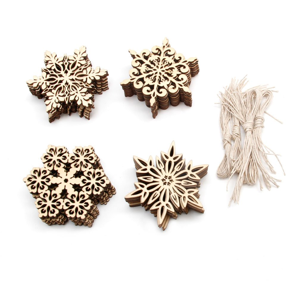 Feamos Wood Snowflake Embellishments for Christmas Tree Decor Gift Pack of 40