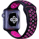 【万屋】Apple Watch スポーツバンド 全16色 高級シリコンバンド Apple Watch Series 3 / Series 2 Series 1 に向け 専用スポーツバンド 通気 汚れ防止 水洗い可 Apple Watch 人気スポーツバンド (Apple Watch 38mm, ブラック+ピンク)