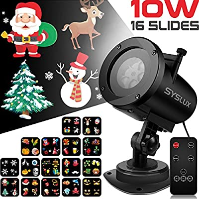 Syslux Halloween Projector Lights, 10W 16 Excluxive Design Slides Garden Lighting IP65 Waterproof Landscape Motion Projection Light with Remote Control, 32ft Power Cable for Every Occasion and Holiday