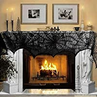 AerWo Halloween Decoration Black Lace Spiderweb Fireplace Mantle Scarf Cover Festive Party Supplies