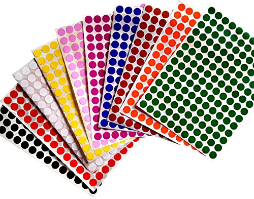 "Color Coding Labels 3/8"" (0.375) inch 10 mm Round Dot Stickers - 10 Different Colors Dots Label - three eights inch rounds sticker 1540 pack"