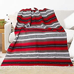 Well-Being-Matters 619VgsqRnAL._SS300_ Eccbox 72 X 51 Inch Mexican Throw Blanket with Assorted Bright Colors Woven Mexican Falsa Serape Blankets for Yoga…