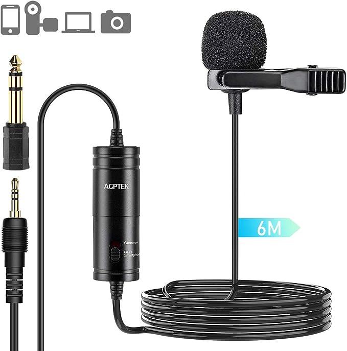 AGPTEK Z05 Micrófono de Solapa, Omnidireccional Micrófono de ...