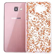Galaxy A5 (2017) Case, TIPFLY Clear Girly Bling Shiny Bumper Flexible Transparent Soft TPU Rubber Cover with Colloid Infused Glitter Gold Foil for Samsung Galaxy A5 (2017) - Rose Gold