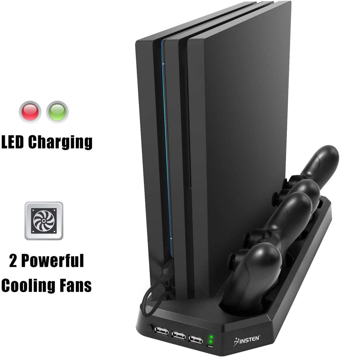 for PS4 Pro Charging Station with Cooling Fan, Insten PS4 Pro Dual Controller Charging Dock in Vertical Stand Design with 3 USB Hub Charging Ports, Bulit-in Cooling Fan and Charging LED Indicator