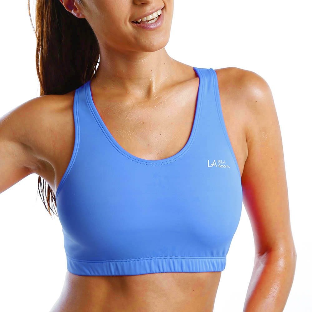 456bf97eb82e4 La Isla Women s Wire Free Non Padded Racerback Soft Basic Sports Bra Top  Blue L  Amazon.co.uk  Clothing