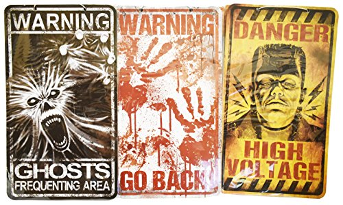 Set of 3 Creepy Halloween Signs! Spooky Decorative Halloween Signs Perfect for Parties and Trick or Treaters! (3) (Halloween Sign For Trick Or Treaters)