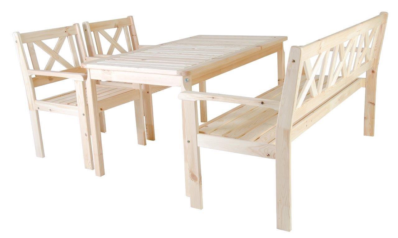 4tlg. Gartenset Kiefer natur Essgruppe Sitzgruppe 3-Sitzer Bank und Sessel Tisch 135 x 77 cm