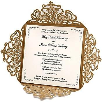 doris home wedding invitations wedding invites invitations cards wedding invitations kit square gold laser cut lace flower pattern wedding invitations cards - Wedding Invitation Cards