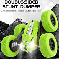 Gooyo Radio Control/ Wireless Electronic Remote Control Double Flip RC Toy Super 360 Degree Stunt Racing Mini Car with Light Chargeable Battery and Charger Toys for Kids/Boys (Green)