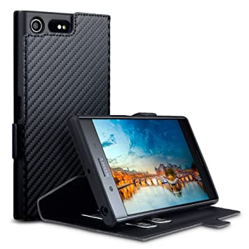 newest b4595 e94e8 TERRAPIN, Compatible with Sony Xperia XZ Premium Case, Slim Fit Leather  Wallet Flip Cover with Stand - Black Carbon Fibre Texture