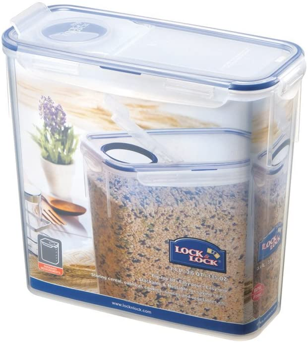 Lock & Lock 115-Ounce BPA Free Slender Container with Leak Proof Locking Lid, 14-Cup
