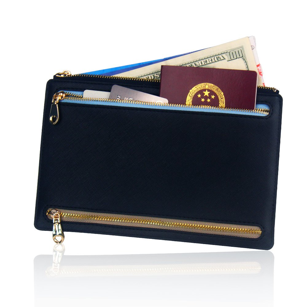 Ticket Travel Wallet & Money Clip,Volin Crik Black PU Leather Multi Zip Pockets Wallet Traveling Accessories