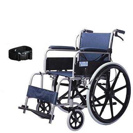 Silla de ruedas Extraíble, Portátil, Asas Altas Aluminio, Tres Pedales Ajustables, Neumáticos