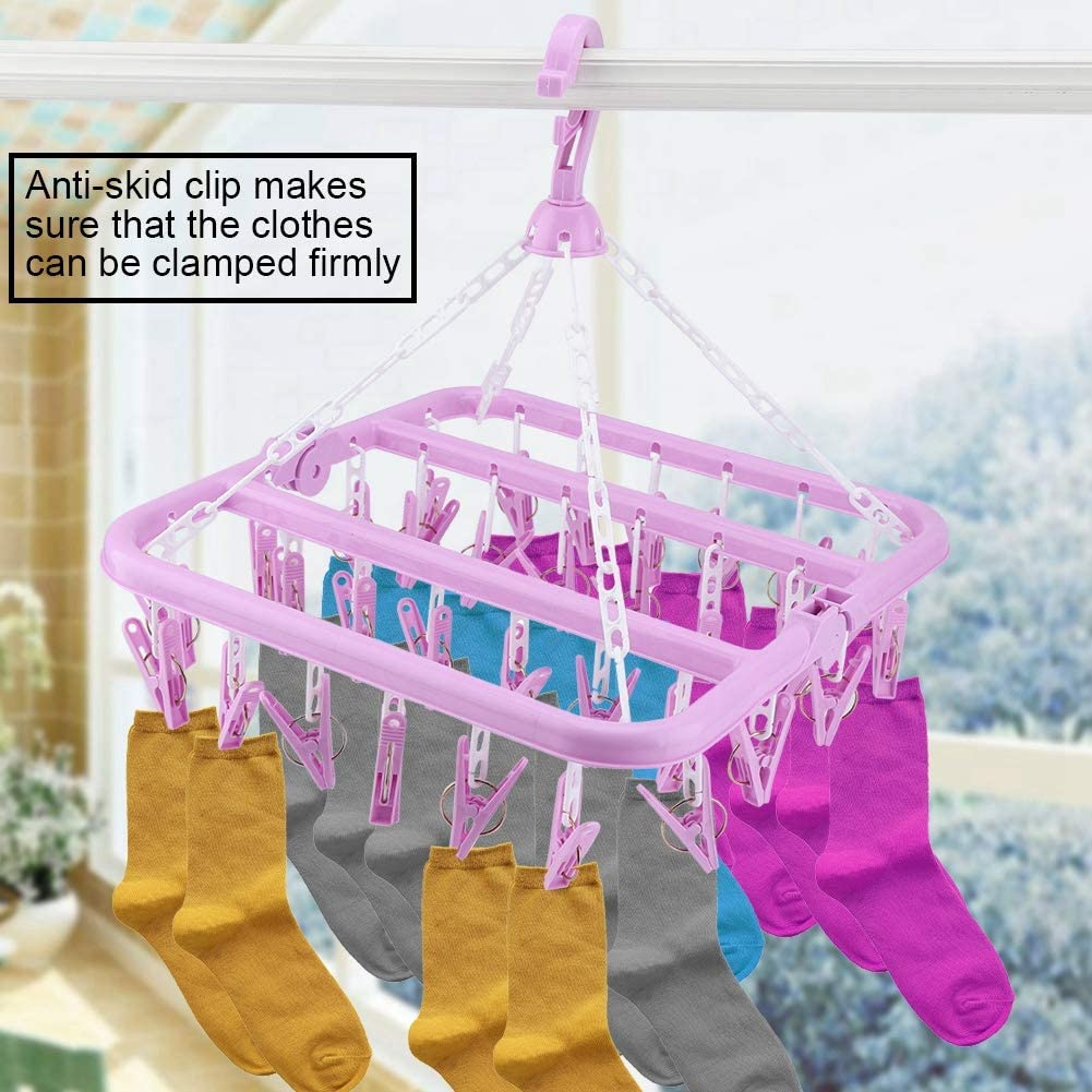32 Clips Folding Clothes Hanger Dryer Windproof Socks Underwear Drying Rack YZ.