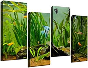 4 Piece Canvas Wall Art-Beautiful fishes swimming in a planted tropical freshwater aquarium-Art Painting Posters Pictures Print Home Decor Modern Artwork for Living Room Bedroom 12x31.5inx4pcs