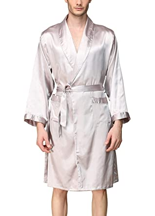 AIEOE Mens Long Dressing Gowns Pajamas Lighweight Satie Bath Robe Sleepwear  Silver XL  Amazon.co.uk  Clothing d352d383f