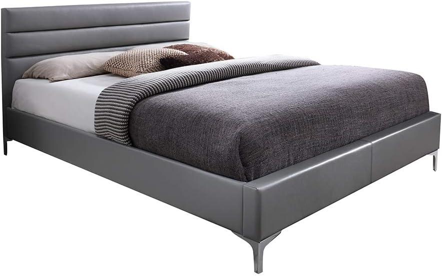Cama doble gris 140 x 190 de estilo contemporáneo. Cabecero de cama, patas y somier incluidos. Miami