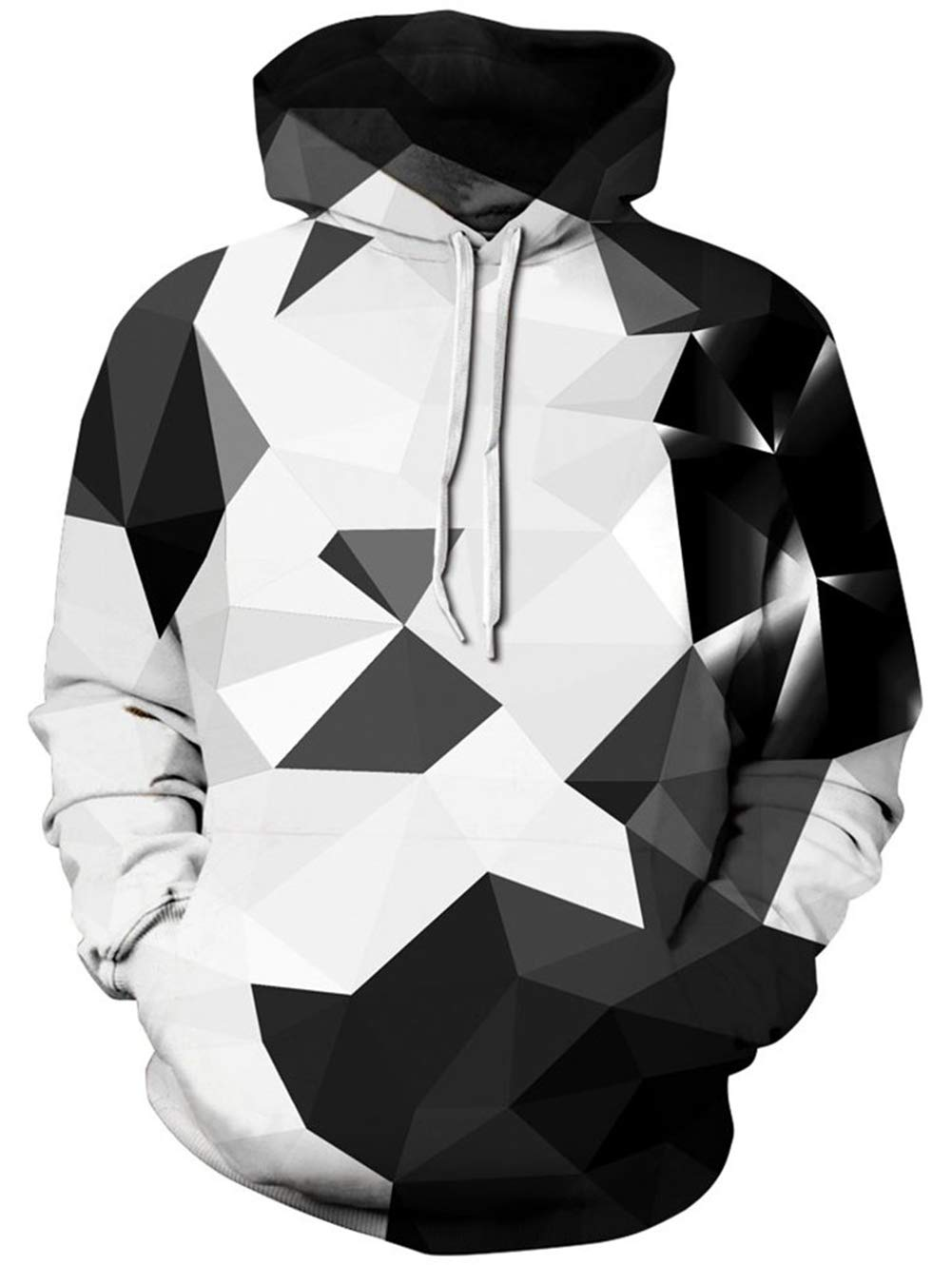 TUONROAD Unisex Fit Awesome Hoody Shirt Coat Black White Grey Geometry Color Block Funny Custom Amazing 3D Graphic Pattern Realistic Sweatshirt Big and Tall Cool Unique Athletic Pullover