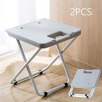 LIZI 2PCS Silla Plegable portátil de plástico Adulto Silla casa ...