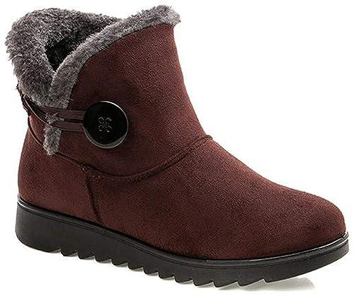 Mujer Botas de Nieve Calientes Piel Forradas Botines Invierno Zapatos Botas de Trabajo Planas Outdoor Ante Antideslizante Boots: Amazon.es: Zapatos y ...