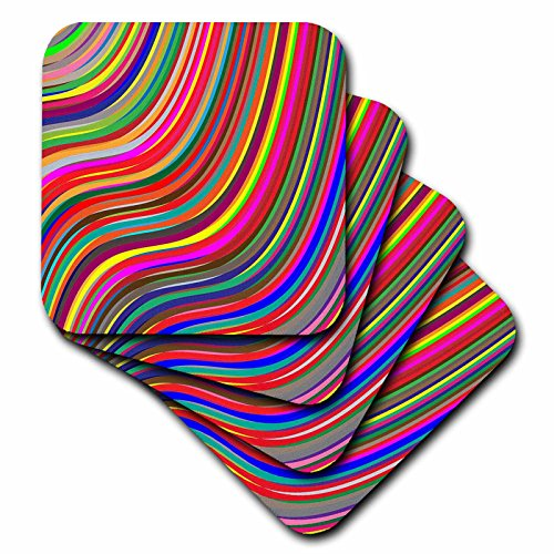 3dRose Abstract Patterns - Image of Bright Multi Color Wavy Ribbons - set of 4 Ceramic Tile Coasters (cst_279921_3)