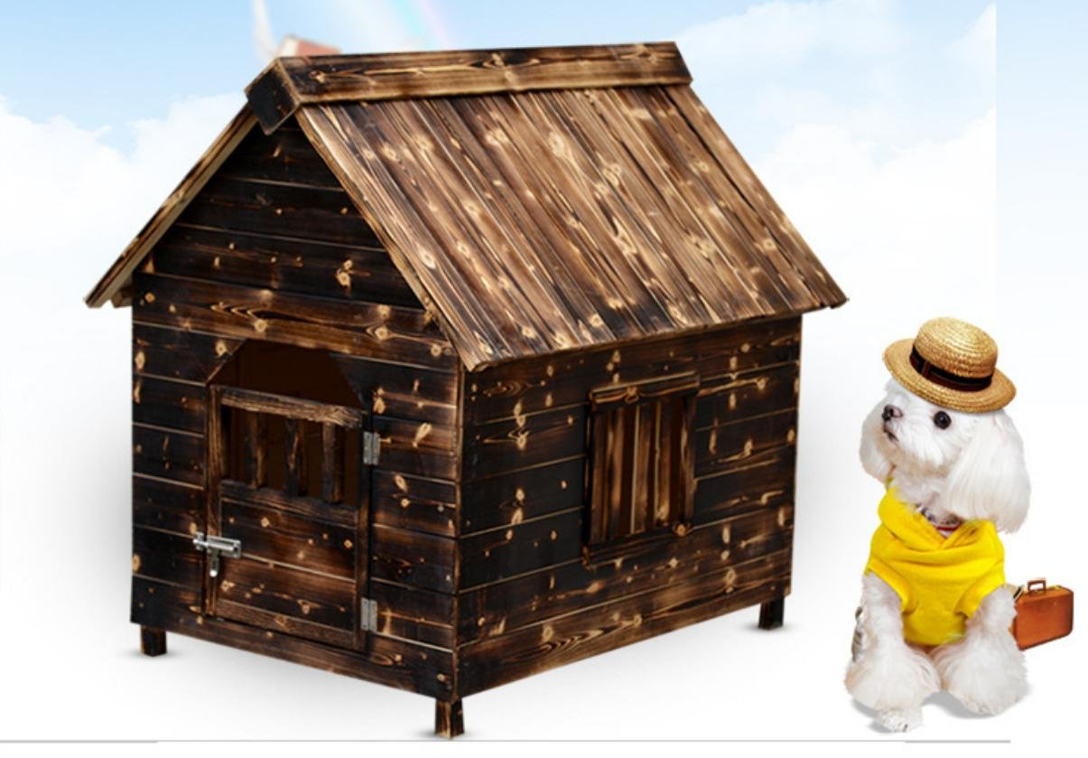 Verkohlte solide Holz Hund Haus Haustier Haus Haustier Hunde und Katzen und Katzen Schuppen Türen haben Windows, S, M, L, XL, XXL-Heimtierbedarf
