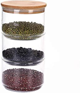 Chiatai Kitchen Food Glass Storage Jars,Airtight Sealed Glass Stackable Containers Bamboo Lid Canister for Kitchen Food 3 Stack