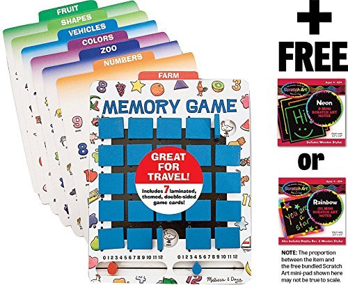Travel Memory Game + FREE Melissa & Doug Scratch Art Mini-Pad Bundle ()