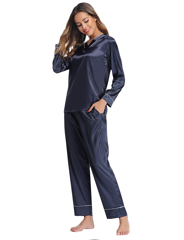 Hawiton Womens Silk Satin Pajamas Set V Neck Long Sleeve Sleepwear Loungewear with Pockets