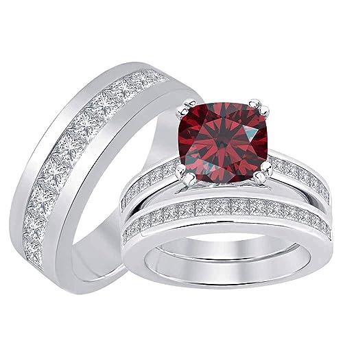 Amazon.com: Tusakha – Juego de anillo de compromiso de plata ...