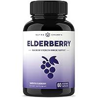 Elderberry Capsules 1200mg - Premium Supplement for Powerful Immune System Support - Black Elder Berry Extract Nigra Antioxidant Vitamin - 60 Vegan Pills
