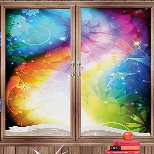 DearestLove Window Film Decorative Magical,Psychedelic Open Book of Fairy Tales on Gradient Rainbow Color Floral Background,Multicolor Easy RemovalW36 xH118 Cut into Two Pieces