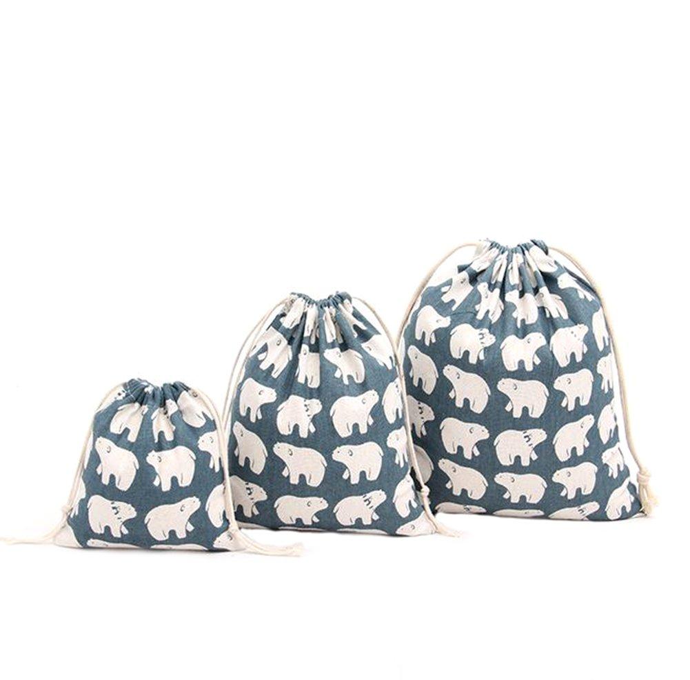 LAAT 3PCS,3 tamaños Bolso con cordón de Bolsos Diseño Animal con cordón Bolsa de Mochila Shopping Sport Yoga Deporte Moda Ocio Navidad,1