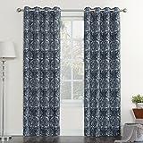 Sun Zero Floral Print Linen Texture Grommet Curtain Panel For Sale