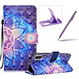 Rope Leather Case for iPhone X,Stand Wallet Flip Case for iPhone X,Herzzer Bookstyle Stylish 3D Blue Mandala Pattern Magnetic PU Leather with Soft Silicone Inner Back Case for iPhone X